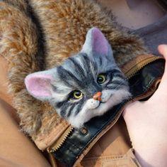 MADE TO ORDER Felt Cat Animal Brooch Handmade от SvetlanaToys