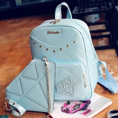 Sweet Rivet PU School Rucksack Diamond Zipper Backpack Gift Small Shoulder Bag