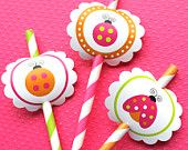 Printable Ladybug Circle Toppers for Straws, Cupcakes, Cake Pops or Tags, Stickers