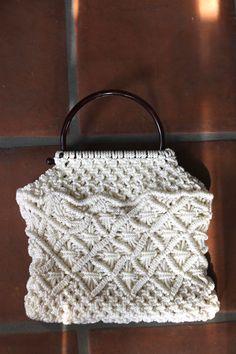 Boho Babe Vintage 70s Macrame Bag Intricate Woven Hippie Handbag