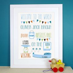 personalised baby birth print by the little paper company | notonthehighstreet.com