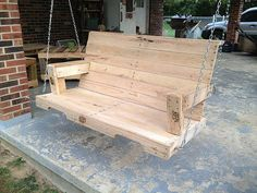 Porch swing my husband made from pallets! Didn't use instructions, just came up with it in his head. :)