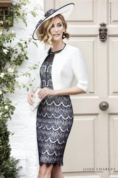25999 John Charles A Pretty Lace Dress With Matching Jacket In Navy Ivory And Blush The Is Shift Style Overlay Lique
