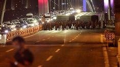 Turkish soldiers block Istanbul's Bosporus bridge on Friday while soldiers also occupied streets in the capital of Ankara. (Getty Images)