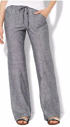 classic linen pant Lounge - Linen Straight-Leg Pant - Average - New York & Company Cool Outfits, Summer Outfits, Casual Outfits, Linen Pants Outfit, Black Linen Pants, Linen Trousers, Fashion Pants, Fashion Outfits, Fashion Women