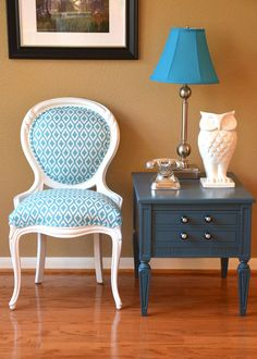 White Louis XVI  Arm Chair Upholstered in Aqua by parsonsparlor, $475.00