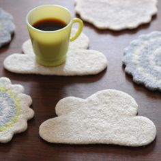 Cloud Wool Yarn Coaster | found this on www.imaginaryanimal.com