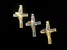 Yellow Gold Cross Iosif with a butterfly & a gemstone. Ruby Sapphire, Peridot, Amethyst, Pink And Gold, White Gold, Cross Jewelry, Gold Cross, Crosses, Quartz