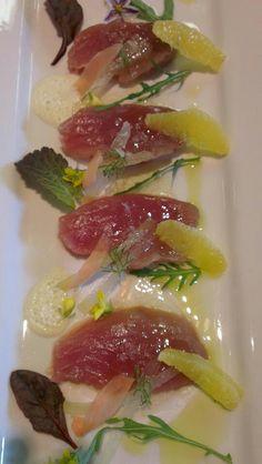 Tuna Crudo, wasabi-citrus espuma Tuna, Ethnic Recipes, Food, Kitchens, Essen, Meals, Yemek, Eten, Atlantic Bluefin Tuna