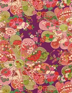 Great kimono and yukata (summer kimono)fabric. It has a satin finish, with all sort of japanese flowers!! It's luxurious!  Very simple yet with a l...