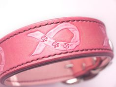 Pink Leather Dog Collar for Cancer Awareness by DieselDOGwear, $80.00