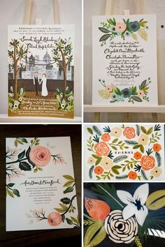 Rifle Hand drawn wedding invitations by Anna Bond
