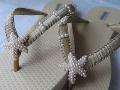 Gold Ivory Wedding Flip Flops / Gold Pearls Starfish Flip Flops / Macrame Beach Flip Flops / Bridal Sandals / Bridesmaids Shoes..