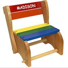 Our Biggest Seller! Holgate Toys Kids Wooden Step Stool Chair - Made in USA! - Personalize - a classic design from the Acts as a step stool, then can be changed into a toddler's chair. Lightweight to carry-but sturdy to step/sit on. Kids Stool, Step Stools, Time Out Chair, Toddler Chair, Toddler Fun, Unique Toys, Stool Chair, Swivel Chair, Kids Furniture