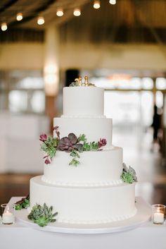 Classic White Wedding Cake With Succulents | Carlo's Bakery https://www.theknot.com/marketplace/carlos-bakery-hoboken-nj-634539 | Lev Kuperman Photography https://www.theknot.com/marketplace/lev-kuperman-photography-brooklyn-ny-520014