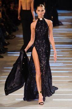 Alexandre Vauthier Couture Black Sequin Halterneck Gown ...