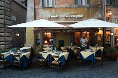La Piccola Cuccagna, Rome, Italy  One of the most delicious, surprising and authentic Roman cuisine experiences we've ever had, in the least expected place: right off of Piazza Navona.  Buccatini all'amatriciana, Tripa alla Romana, Branzino al Sale...the list goes on.