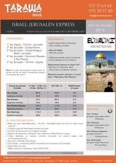 """ISRAEL """"Jerusalén Express 5 días"""" Excursión Massada y Mar Muerto Incluida ultimo minuto - http://zocotours.com/israel-jerusalen-express-5-dias-excursion-massada-y-mar-muerto-incluida-ultimo-minuto/"""