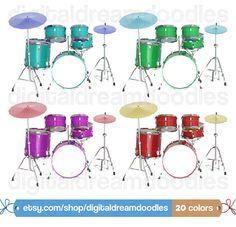 Drum Clipart, Drum Clip Art, School Band Clipart, Music Clipart, Drummer Clipart, Instrument Clipart, Drum Set Clip Art, Instant Download