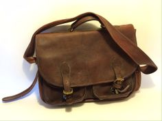 Robert Cheau leathercraft Leather bag Vintage travel bag Computer bag Documnets bag Brown Leather