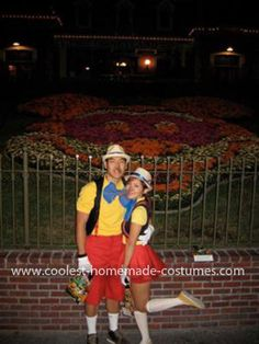 Homemade Pinocchio Couple Costume: My boyfriend (world's largest Pinocchio!) and I spent our Halloween at Disneyland this year, happiest place on Earth! Mickey's Halloween Party doesn't