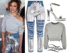 Jade Thirlwall visited 106.1 KISS FM with her bandmates a few weeks ago, wearing a GUESS Short Logo Sweatshirt ($77.00) in Gray, Pretty Little Thing Mid Wash Sequin Distress Mom Jeans (sold out) and Public Desire Esmee Low Platform Heels ($44.99) in Silver Metallic.