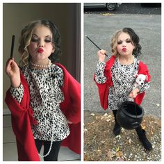 Cruella deville diy kids costume i made this for my daughter and it cruella deville childrens costume my girl nailed it solutioingenieria Images