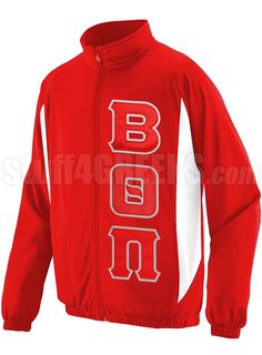 BETA THETA PI TRACK JACKET WITH GREEK LETTERS, RED  Item Id: PRE-TRK-BQP-BASIC-LTR-RED    Price: $69.00