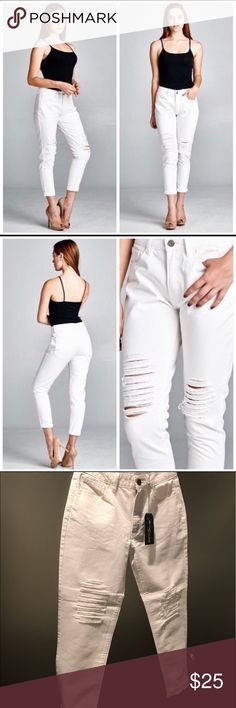 """Distressed Boyfriend Capri Jeans NWT. White, approx. 26"""" inseam, 15"""" across top waist. Jeans Ankle & Cropped"""