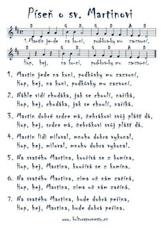 Píseň o sv. Aa School, School Clubs, Music For Kids, Kids Songs, Brag Tags, Kids And Parenting, Advent, Sheet Music, Martini