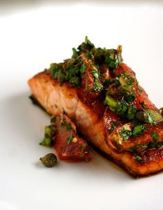 Agave-Crusted Salmon with Blood Orange Salsa Verde