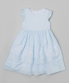 Love this Blue Embroidered Angel-Sleeve Dress - Infant, Toddler & Girls on #zulily! #zulilyfinds