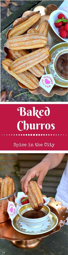 Baked Churros - Spice in the City: Fabulously crunchy & delicious churros made healthy by baking instead of deep-frying! Served with a Rich Chocolate Dipping Sauce!
