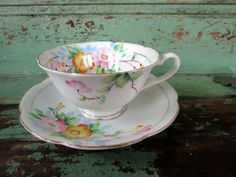 Vintage Handpainted Floral Flower teacup and Saucer Pink yellow shabby flowers