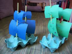 The best way to learn history is to get hands on! This easy egg carton Mayflower boat craft is simple enough for little kids, and fits mini dolls too. Boat Crafts, Pirate Crafts, Summer Crafts, Craft Activities For Kids, Preschool Activities, Diy For Kids, Crafts For Kids, Egg Carton Crafts, Pirate Theme