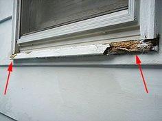 Replace A Wood Window Sill To Fix Rot Damage Source by Exterior Window Sill, Wood Window Sill, Garage Door Trim, Garage Doors, Diy Wood Floors, Wood Repair, Home Fix, Window Repair, Diy Home Repair