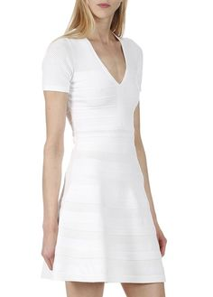 Robe en maille stretch  Blanc by SANDRO