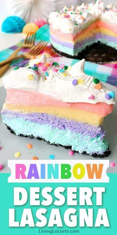 Easy no-bake Unicorn Rainbow Dessert Lasagna recipe! Fluffy pastel cheesecake, pudding and Cool Whip layered on a chocolate Oreo crust. Chocolate Lasagna, Chocolate Oreo, Chocolate Pudding, Chocolate Desserts, Brownies, Cupcakes, Cake Recipes, Dessert Recipes, Steak Recipes
