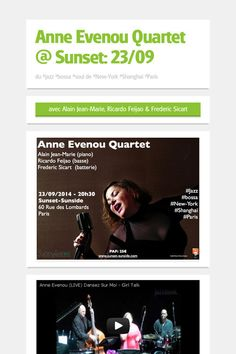 "#jazz #bossa 29/09 au Sunset-Sunside (Paris). Concert de ""Anne Evenou Quartet"" avec Alain Jean-Marie (piano), Ricardo Feijao (basse) et Frederic Sicart (batterie)   http://www.sunset-sunside.com/2014/9/artiste/1653/"