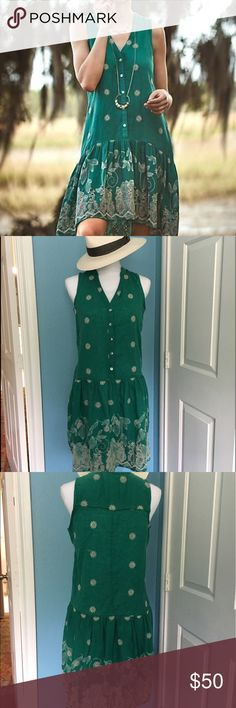 Anthropologie Maeve Green Pippa Swing Dress NWOT Fun and flirty for summer this dress is light and airy! Kelly green with cream embroidery. Never worn. Anthropologie Dresses Midi