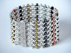This tutorial provides instruction for making this Metal Bead Sampler Bracelet. It consists of 10 pages of material requirements, instructions and diagrams. It specifically calls for Metal Beads in 14 Beaded Necklace Patterns, Beaded Bracelets Tutorial, Woven Bracelets, Seed Bead Bracelets, Jewelry Patterns, Jewelry Bracelets, Bead Patterns, Stretch Bracelets, Seed Beads