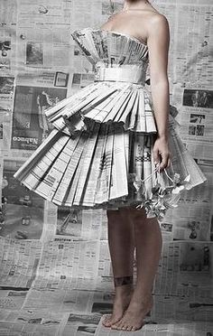 newspaper origami dress