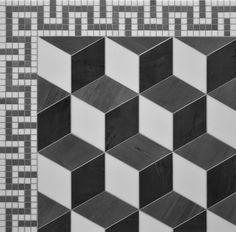 Dimensional Boxes cube mosaic floor pattern rhombus stone floor pattern  #drdfloors