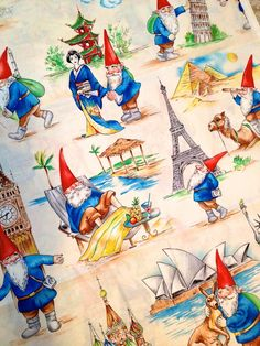 Rare GNOME Fabric - Gnome Some Traveling Michael Miller VERY HTF Gnomes #fabric4you