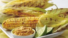 Grilled Corn with Chile-Lime Spread - Hot off the grill in 30 minutes! Tangy lime juice and peel temper the spice from ground red chiles. Corn Recipes, Side Dish Recipes, Vegetable Recipes, Gluten Free Recipes, Muffin Recipes, Summer Side Dishes, Vegetable Sides, Vegetable Side Dishes, Grilling Recipes