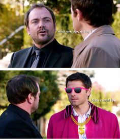 """""""What are you, a pimp?"""" """"Bitch I might be.""""     Supernatural 9x10 """"Road Trip"""" castiel Crowley"""