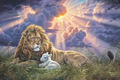 """Abraham Hunter Hand Signed and Numbered Limited Edition Embellished Canvas Giclee:""""Perfect Peace"""" Prophet Isaiah, Book Of Isaiah, Lion And Lamb, Lion Love, Sheep Art, Lion Wallpaper, Perfect Peace, Biblical Art, Interesting Animals"""