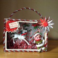 Vintage Christmas Ornament Box Diorama Shadow Box Hand Made Kitschy Decoration