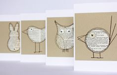Set of four critter cards made from pages of an old dictionary.
