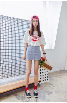Korean fashion loose cotton printed t-shirt